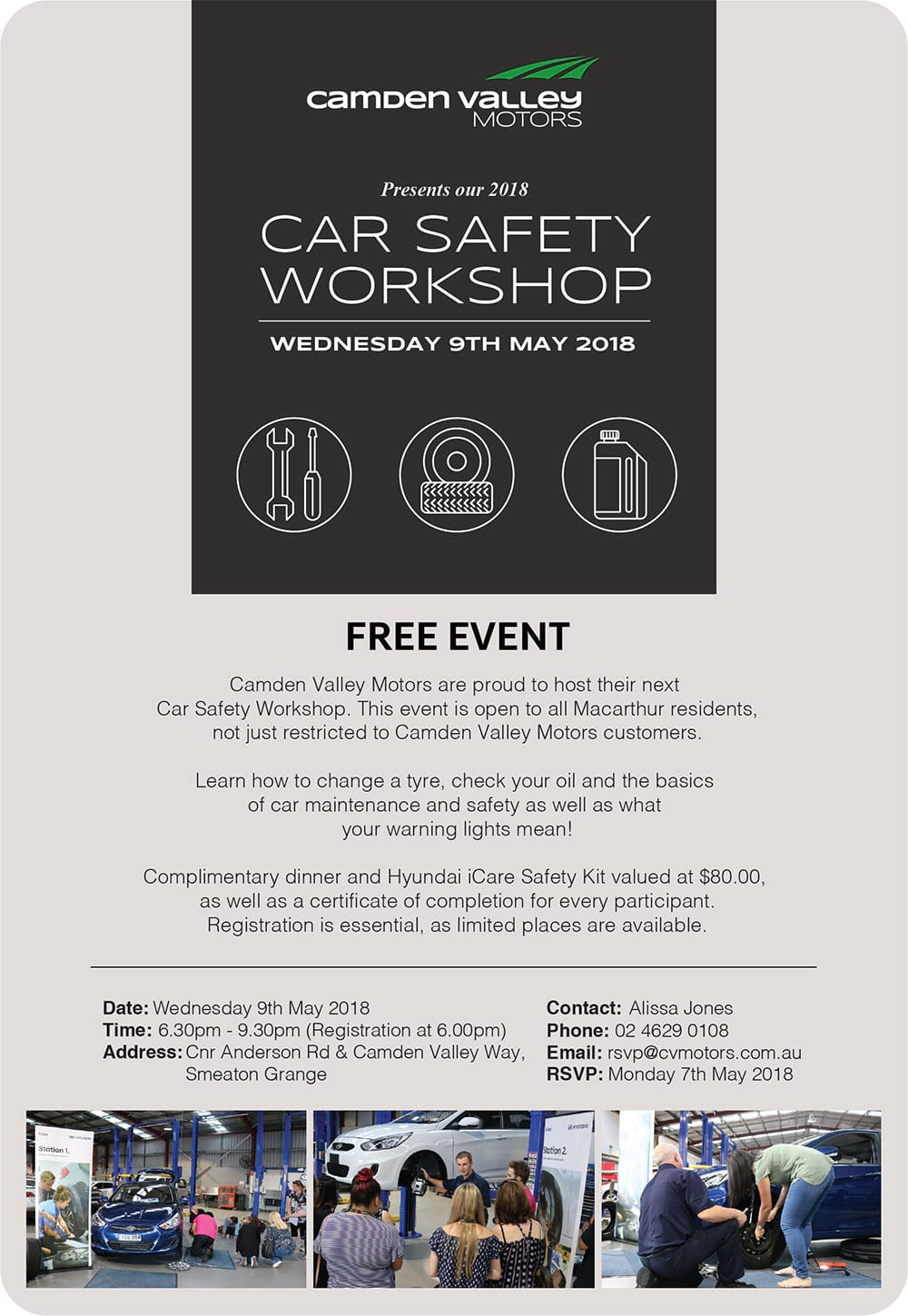 Car Safety Workshop - Wednesday 9th May 2018
